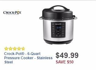 Best Buy Weekly Ad: Crock-Pot® - 6-Quart Pressure Cooker - Stainless Steel for $49.99