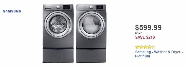 Best Buy Weekly Ad: Samsung - 4.2 Cu. Ft. 9-Cycle High-Efficiency Steam Front-Loading Washer - Platinum for $599.99