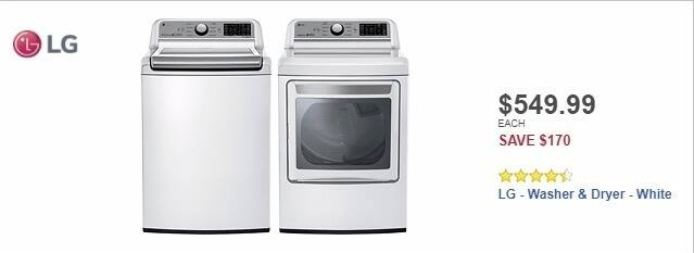 Best Buy Weekly Ad: LG - 5.0 Cu. Ft. 8-Cycle Top-Loading Washer - White for $549.99