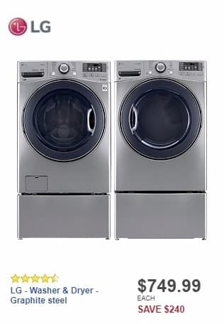 Best Buy Weekly Ad: LG - TurboWash 4.5 Cu. Ft. 12-Cycle Front-Loading Washer with Steam - Graphite steel for $749.99