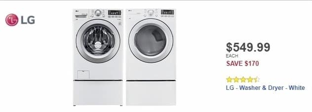 Best Buy Weekly Ad: LG - 4.5 Cu. Ft. 9-Cycle Front-Loading Washer - White for $549.99