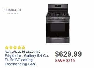 Best Buy Weekly Ad: Frigidaire - Gallery 5.4 Cu. Ft. Self-Cleaning Freestanding Gas Convection Range - Black stainless steel for $629.99
