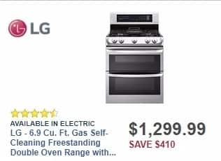 Best Buy Weekly Ad: LG - 6.9 Cu. Ft. Gas Self-Cleaning Freestanding Double Oven Range with ProBake Convection - Stainless steel for $1,299.99