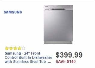 "Best Buy Weekly Ad: Samsung - 24"" Front Control Built-In Dishwasher with Stainless Steel Tub - Stainless Steel for $399.99"