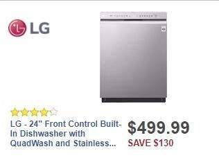 "Best Buy Weekly Ad: LG - 24"" Front Control Built-In Dishwasher with QuadWash and Stainless Steel Tub - Stainless steel for $499.99"