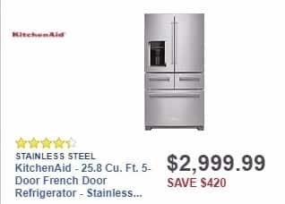 Best Buy Weekly Ad: KitchenAid - 25.8 Cu. Ft. 5-Door French Door Refrigerator - Stainless Steel for $2,999.99