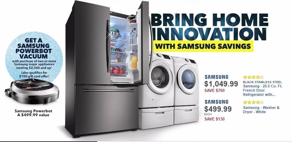 Best Buy Weekly Ad: Samsung - 25.5 Cu. Ft. French Door Refrigerator with Internal Water Dispenser - Black stainless steel for $1,049.99