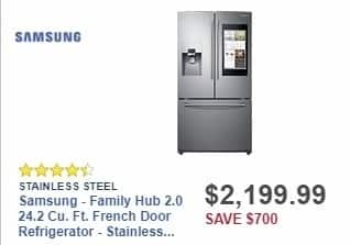 Best Buy Weekly Ad: Samsung - Family Hub 2.0 24.2 Cu. Ft. French Door Refrigerator - Stainless Steel for $2,199.99
