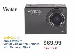 Best Buy Weekly Ad: Vivitar - 4K Action Camera with Remote - Black for $69.99