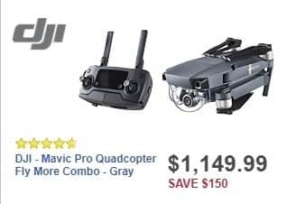 Best Buy Weekly Ad: DJI - Mavic Pro Quadcopter Fly More Combo - Gray for $1,149.99