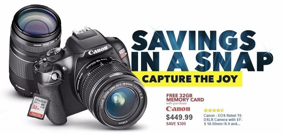 Best Buy Weekly Ad: Canon - EOS Rebel T6 DSLR Camera with EF-S 18-55mm IS II and EF 75-300mm III lens - Black for $449.99