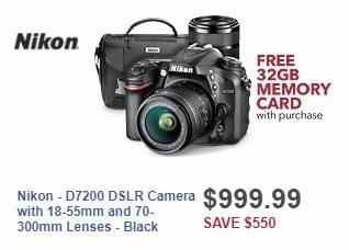 Best Buy Weekly Ad: Nikon - D7200 DSLR Camera with 18-55mm and 70-300mm Lenses - Black for $999.99