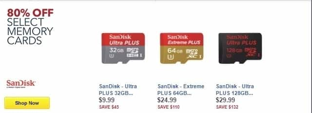 Best Buy Weekly Ad: 80% Off Select Memory Cards - Up to 80% Off