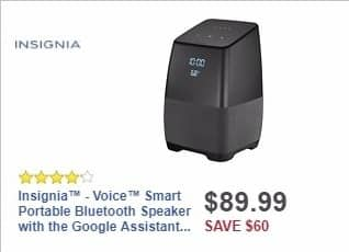 Best Buy Weekly Ad: Insignia™ - Voice™ Smart Bluetooth Speaker with the Google Assistant built in - Black for $69.99
