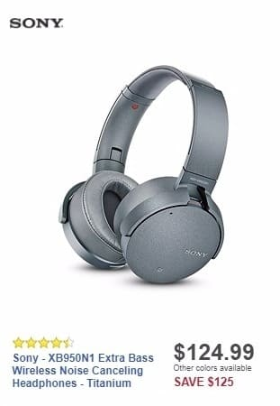 Best Buy Weekly Ad: Sony - XB950N1 Extra Bass Wireless Noise Canceling Headphones - Titanium for $124.99