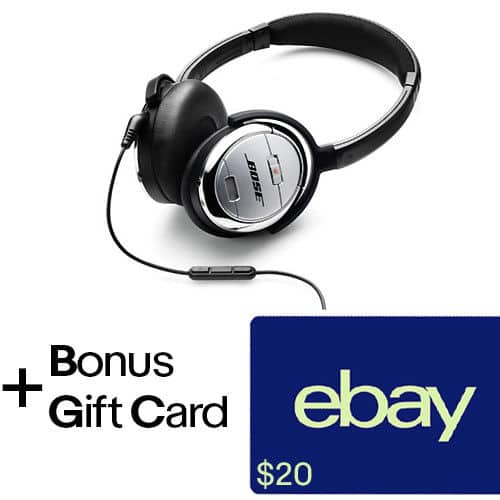 Bose QC3 Noise cancelling headphones +$20 ebay gift card - $139.95