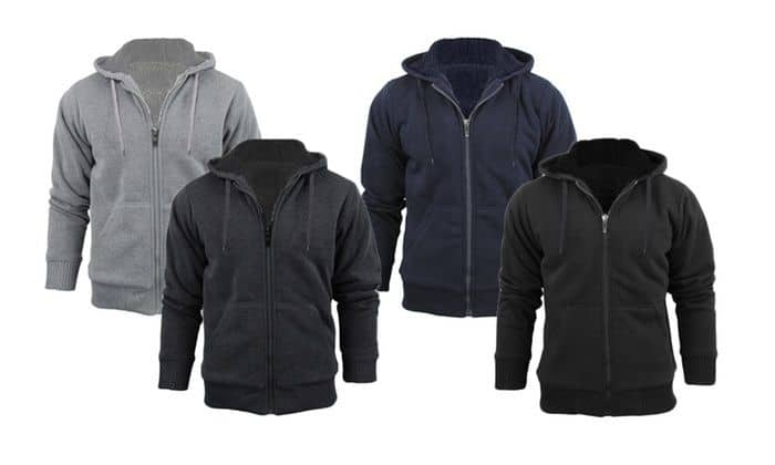 Stanzino Men's Sherpa Lined Extra Thick Warm Hoodie Jacket - $14.99