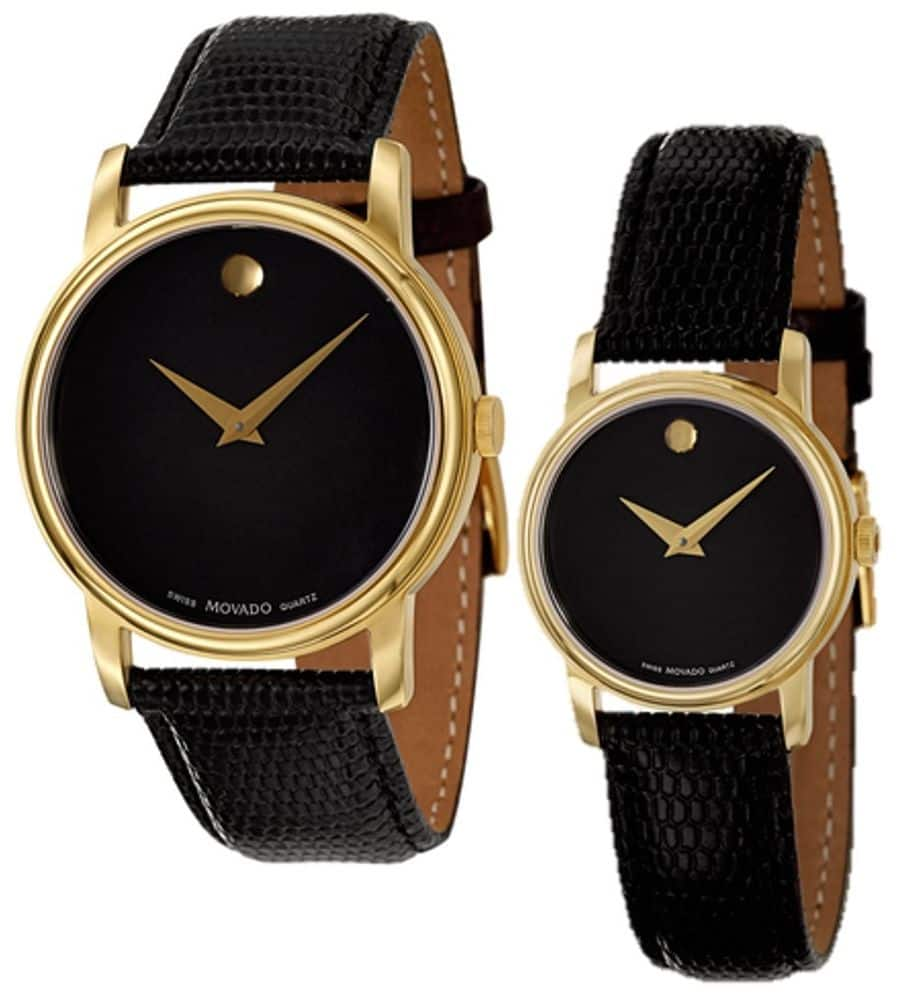 Movado Museum Black Dial Gold Black Leather Mens & Womens Watch 2100005 2100006 - $159.99