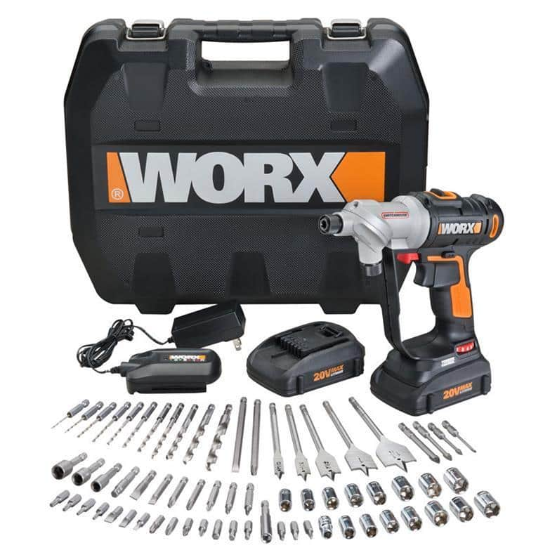 WORX 67 pc. 20V Lithium Switchdriver Cordless Drill & Driver Set - $107