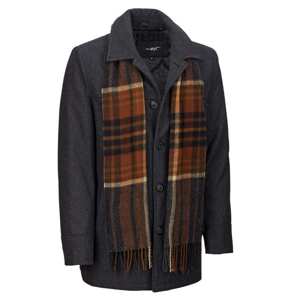 Black Rivet Mens Classic Wool Car Coat W/ Scarf - $42.99 + FS