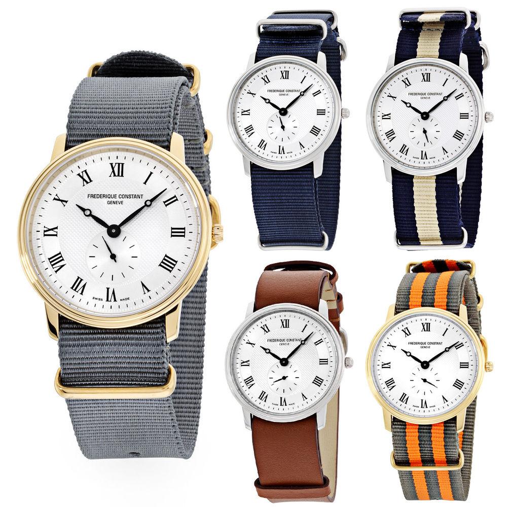Frederique Constant Slimline Silver Dial Nylon Strap Men's Watch FC235M4S6NVY - $149.99