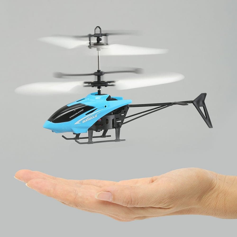 Mini Infrared Induction Flashing Light Flying Helicopter - Blue - $4.5