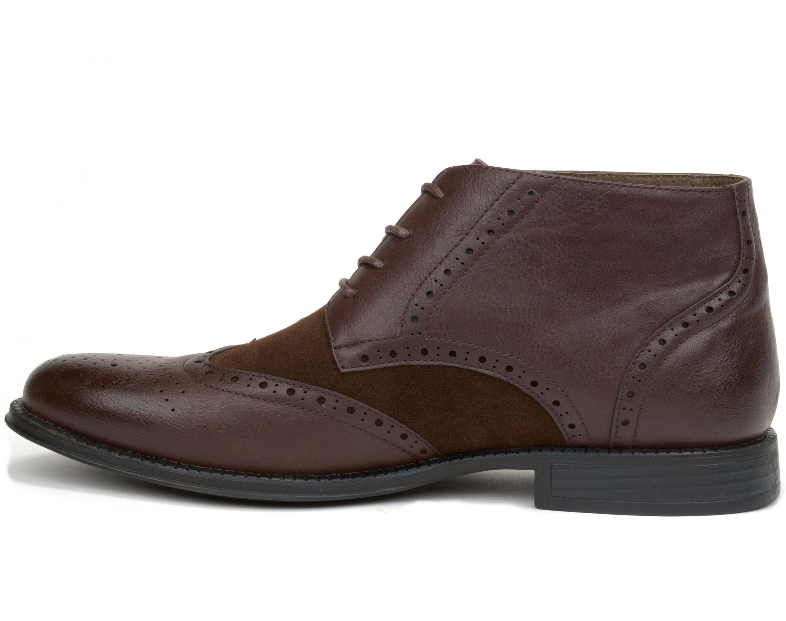 Alpine Swiss Mens Boots Wing Tip Lace Up Dress Shoes Two Tone Brogue Medallion - $29.99