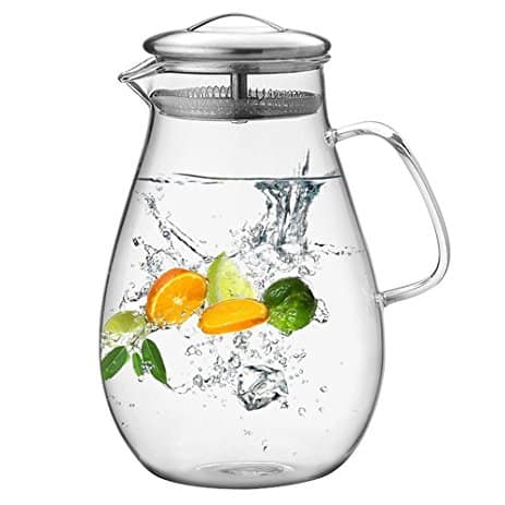 Hiware 64 Ounces Glass Pitcher with Stainless Steel Lid - $9.93