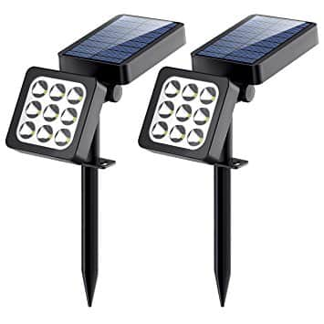 2-Pack of Aptoyu 2-in-1 Waterproof Outdoor Solar Spotlights, 9 LED Adjustable Landscape Lights - $15.99