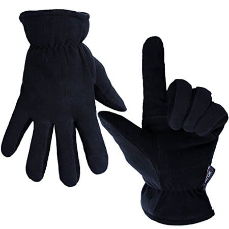 Ozero Cold Winter Gloves with Deerskin Suede Leather Palm and Polar Fleece Back - $9.89