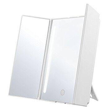 Jerrybox Trifold LED Lighted Makeup Mirror, Batteries or USB Charging - $12.99