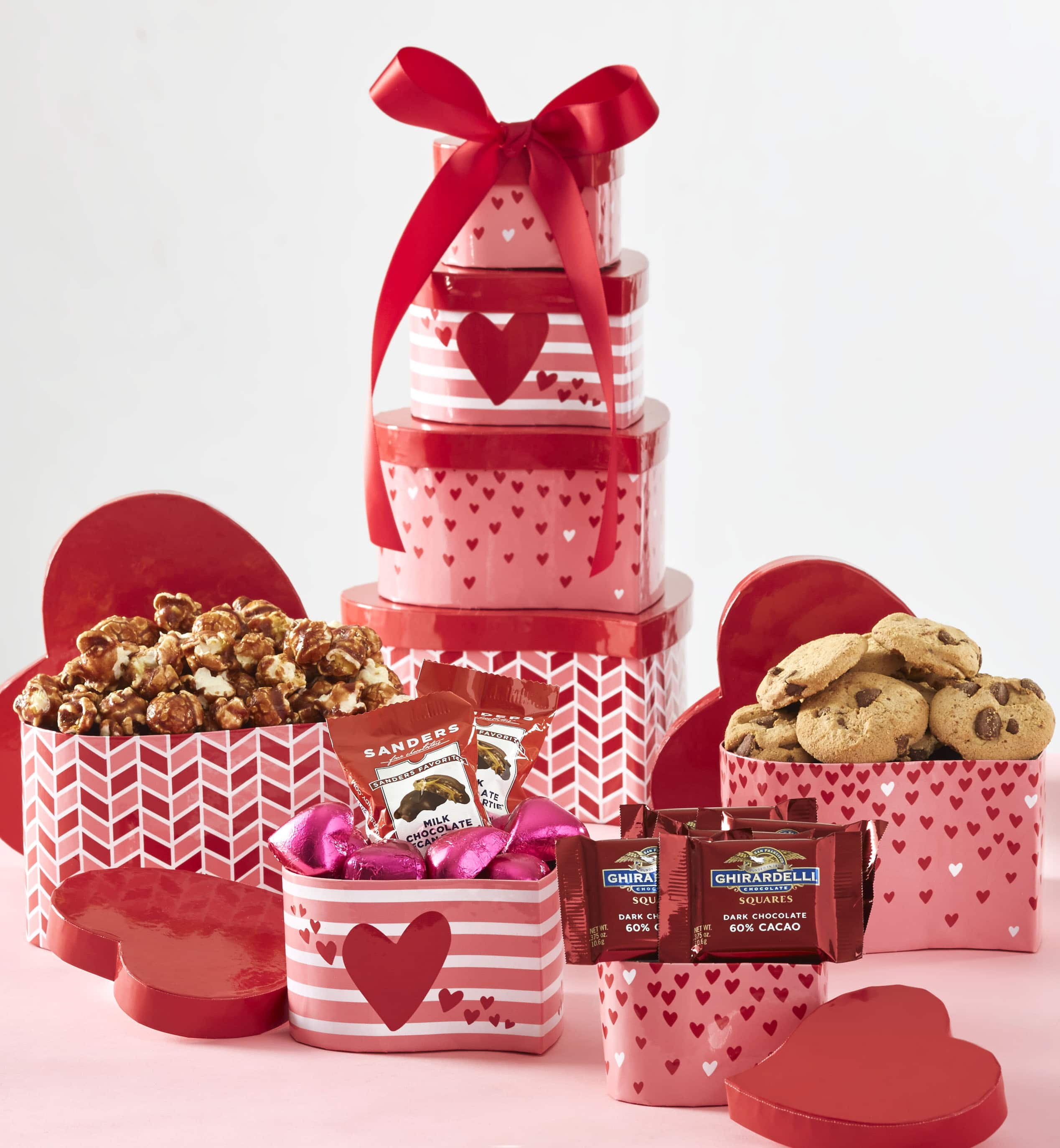 1-800-Baskets: Hearts Afire Valentine Chocolate & Sweets Tower for $35