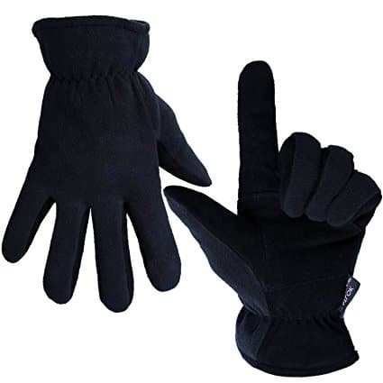 Ozero Cold Winter Gloves with Deerskin Suede Leather Palm and Polar Fleece Back - $9.59