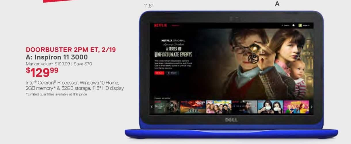 Dell Home & Office Weekly Ad: Doorbuster 2pm ET, 2/19 - Inspiron 11 3000 for $129.99