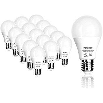 16 pcs Tenergy LED Light Bulb, 9 watts Equivalent A19 E26 Medium Standard Base, Day light (5000K) or Soft White (2700K) - $16.09