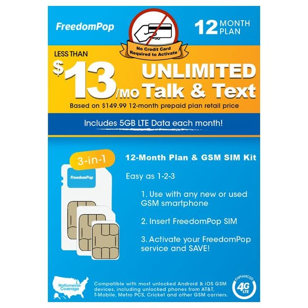 FreedomPop - NO Credit Card Req'd at Activation - 12-Mo Prepaid - Unlimited Talk, Text, & 5GB Data - $149.99