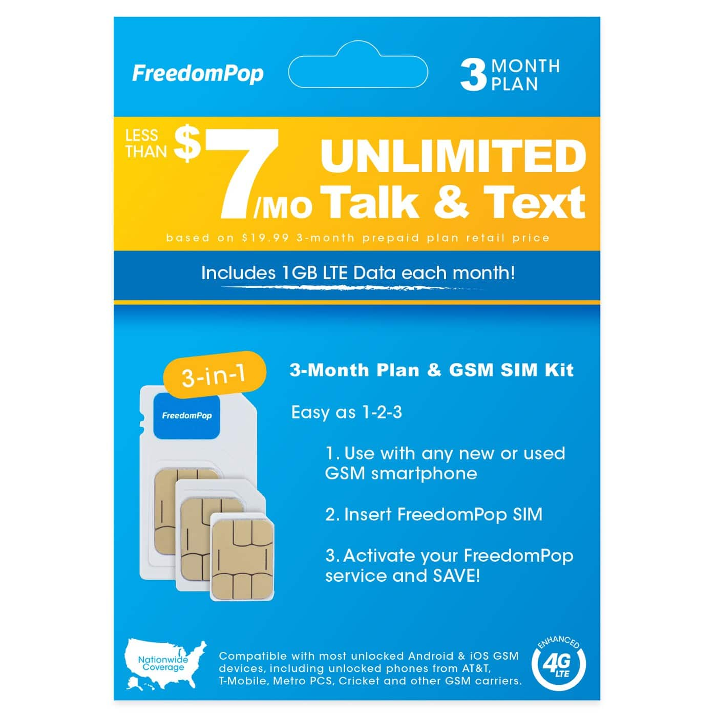 FreedomPop 3month 1GB GSM Plan - No Credit Card Required - $9.99