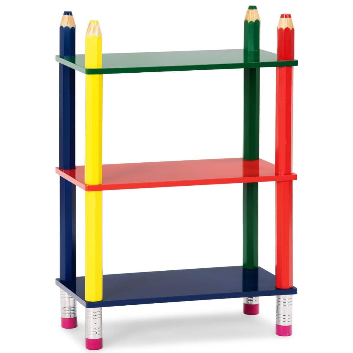 Costway 3 Tiers Kids Bookshelf Crayon Themed Shelves Storage Bookcase 2695 Free Shipping