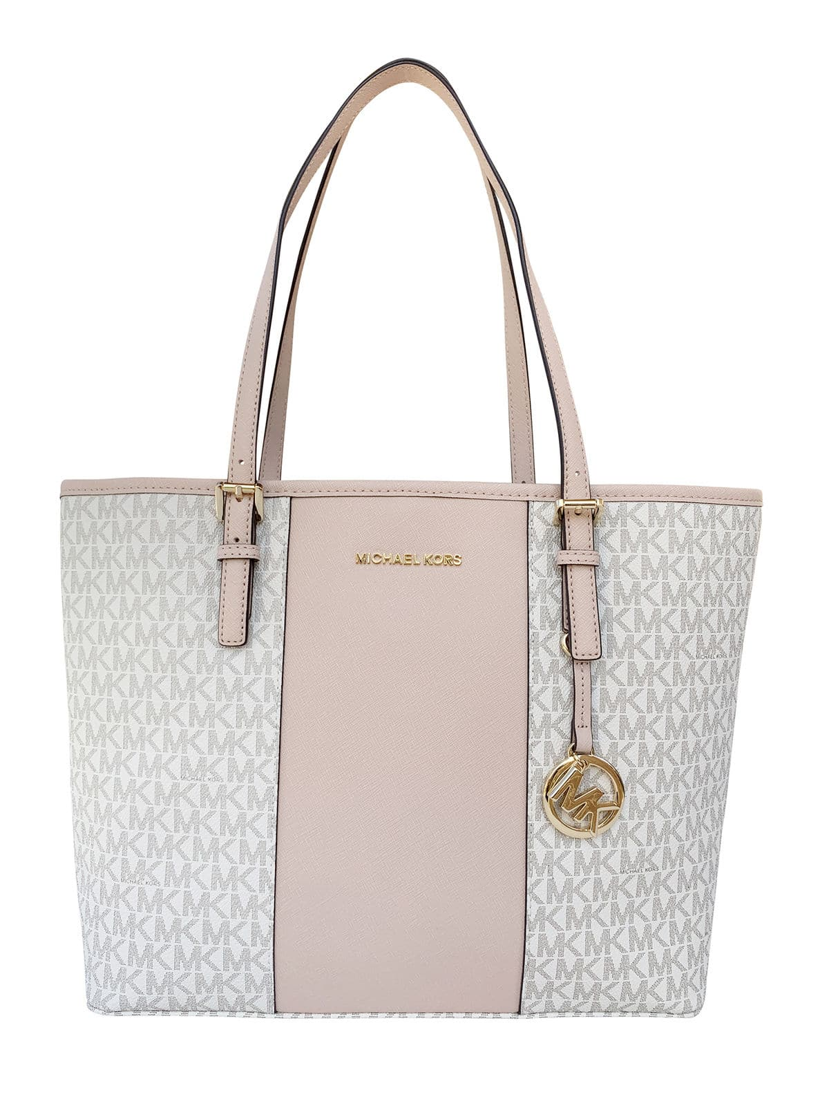 c110f221201a Michael Kors Jet Set Travel Medium Carryall Tote Vanilla MK Stripe Ballet  Pink $99.99