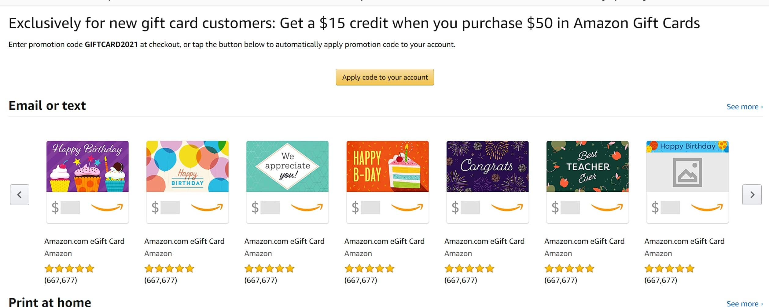 Get a $15 credit when you purchase $50 in Amazon Gift Cards YMMV