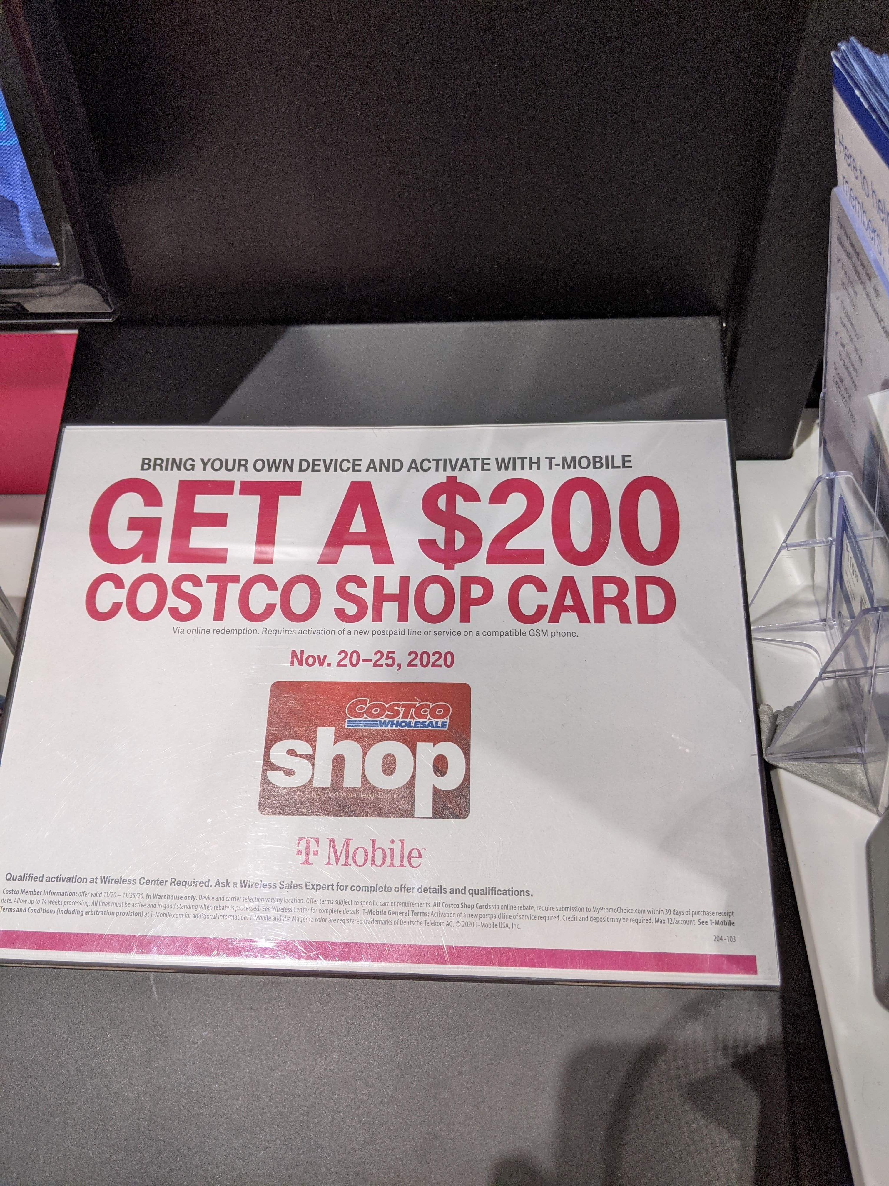 Costco -Add a line T-Mobile BYOD get 200 Costco shop card