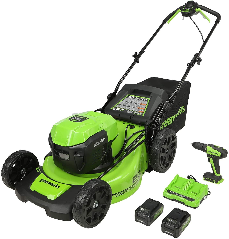 Amazon.com : Greenworks 2 x 24V (48V) 20-Inch Brushless Push Mower, (2) 4Ah Batteries and Charger + 24V Brushless Drill / Driver $280