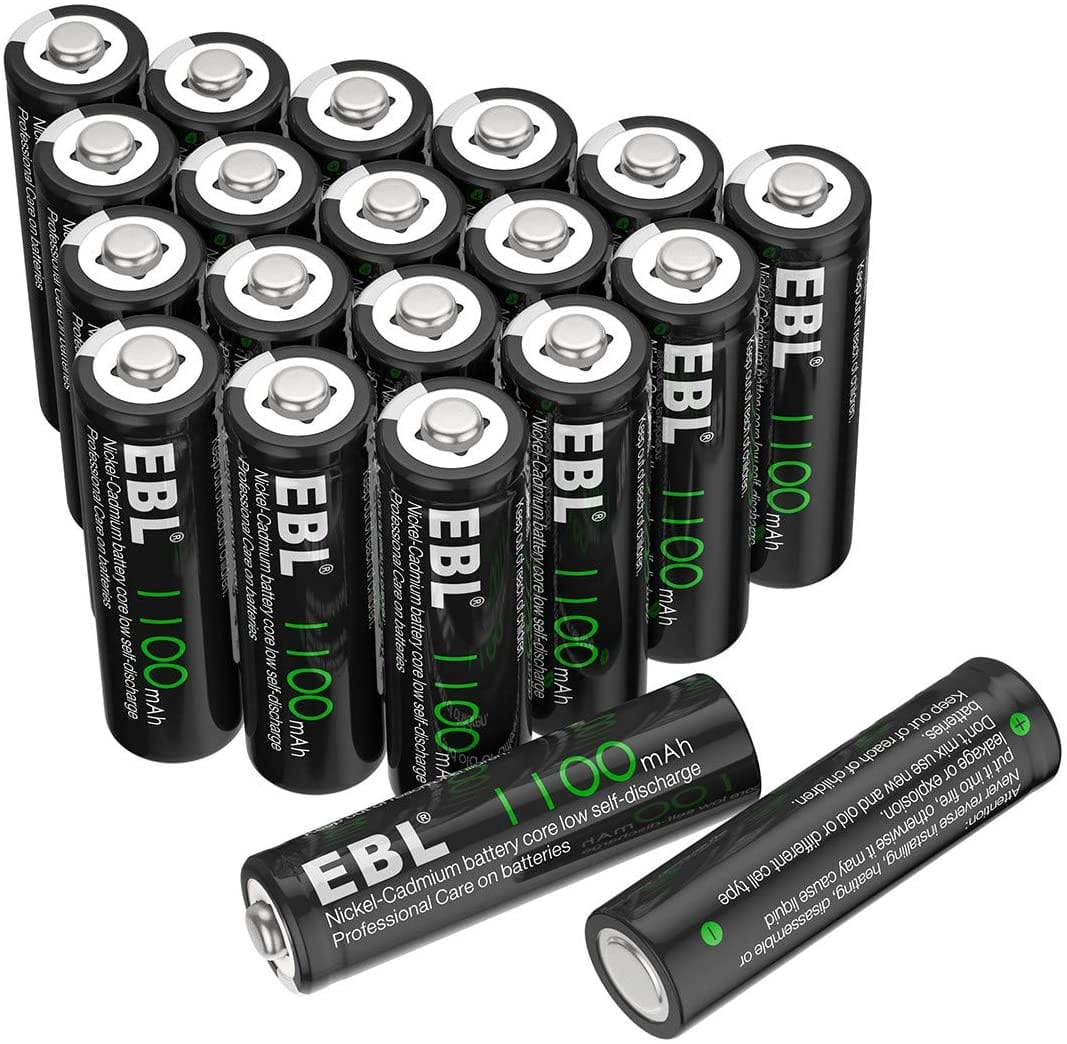 (40% off+Free shipping)EBL AA Rechargeable Batteries, 1100mAh(Pack of 20) $11.59