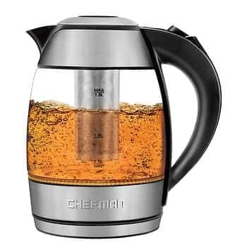 Chefman 1.8 Liter Electric Glass Kettle With Removable Tea Infuser $28.99