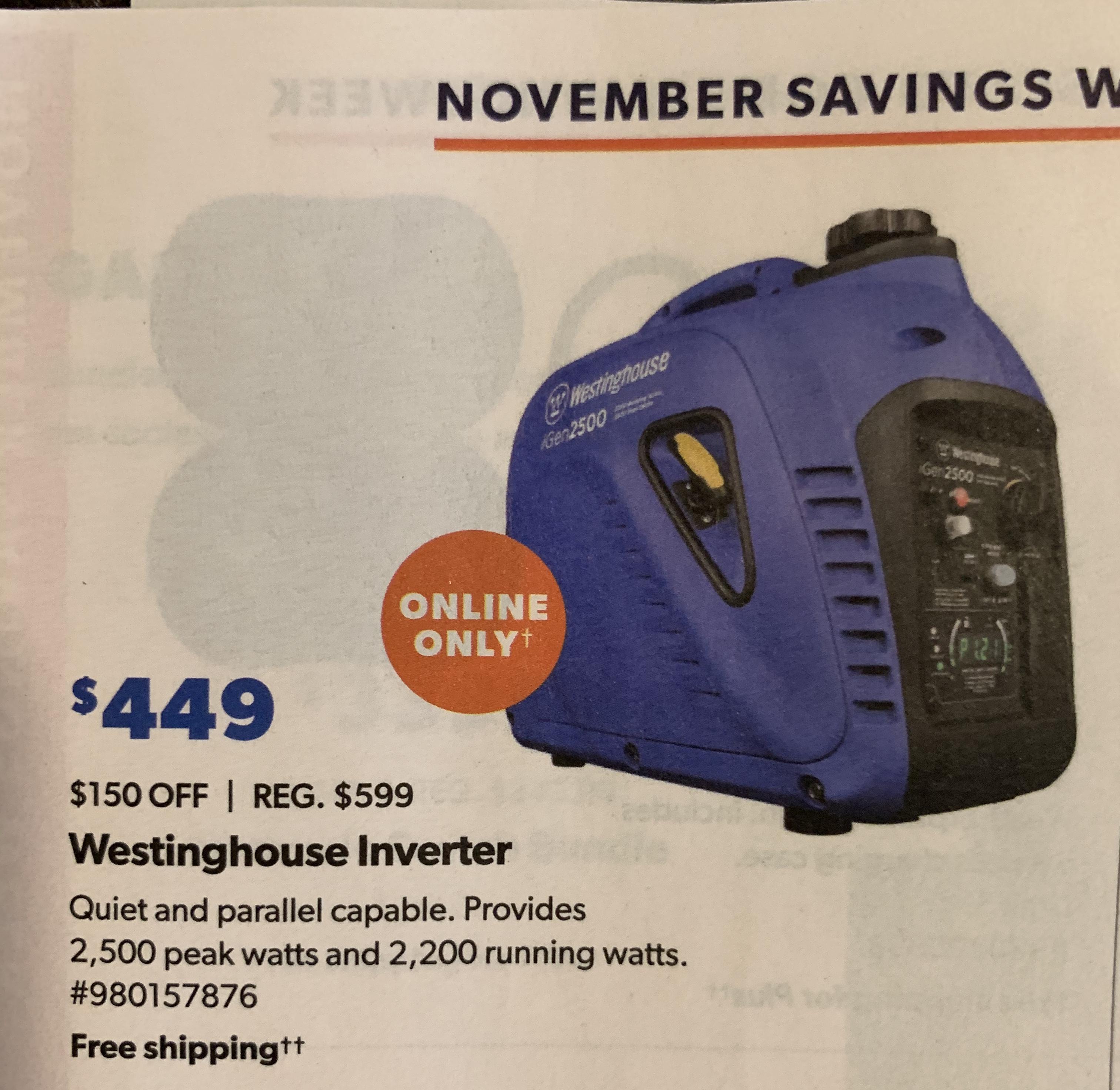 Westinghouse iGen2500 for $449 at Sam's Club
