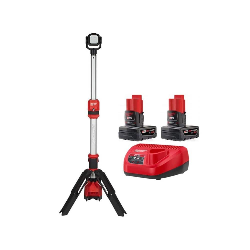 Milwaukee M12 12-Volt Lithium-Ion Cordless 1400 Lumen ROCKET LED Stand Work Light with Two M12 6.0 Ah Battery Packs and Charger-48-59-2462-2132-20 - $200