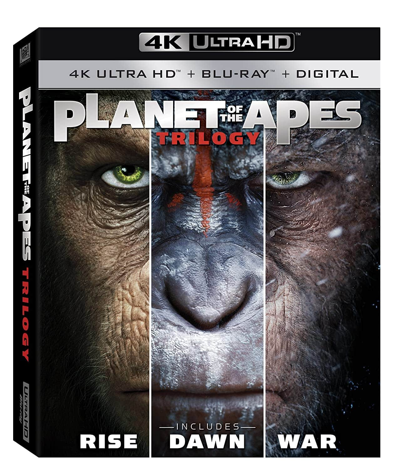 Planet of the Apes 1-3 Trilogy [4K Ultra HD + Blu-Ray + Digital] $24.99