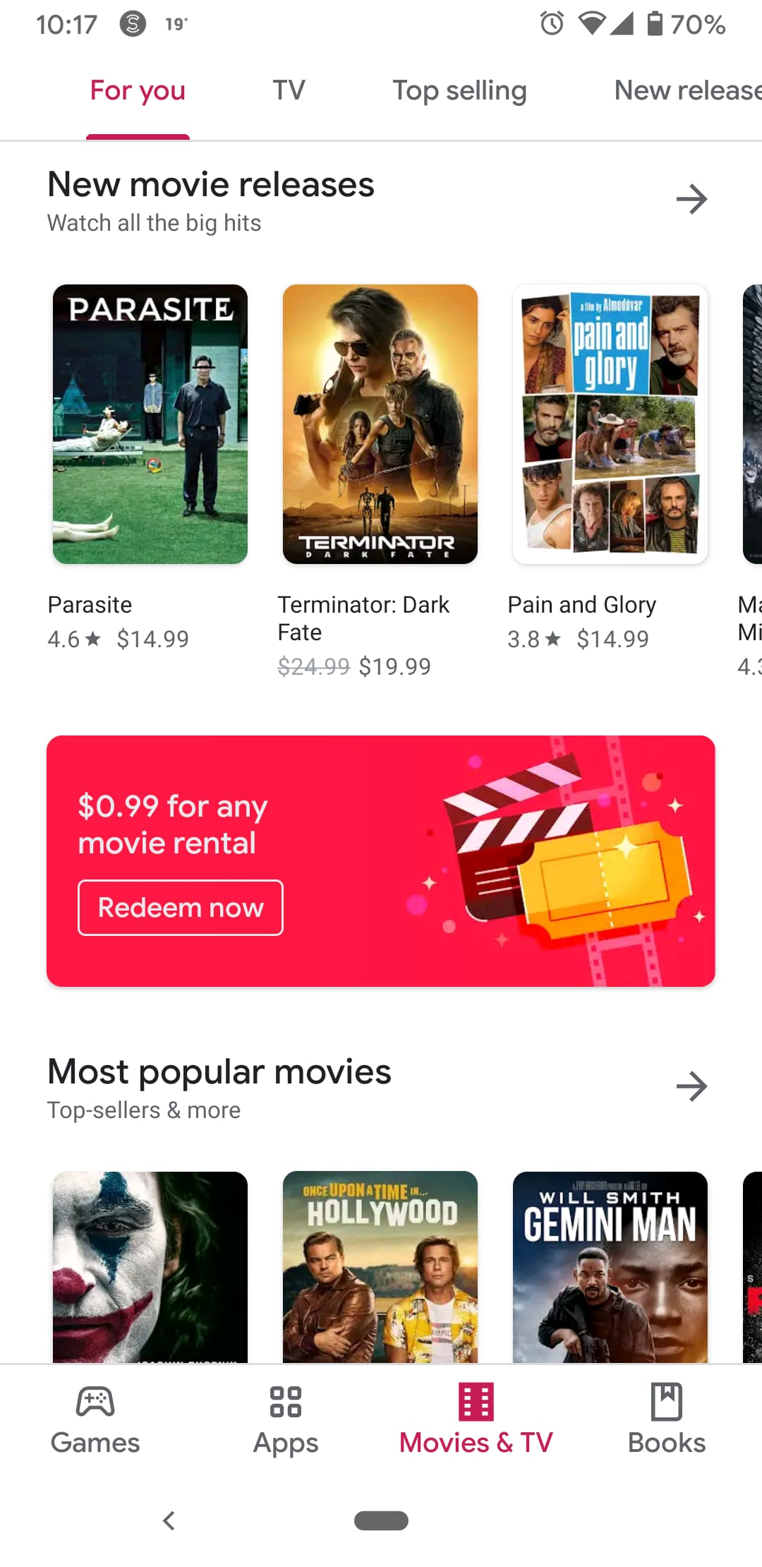 Google play any movie rental for $0.99 YMMV