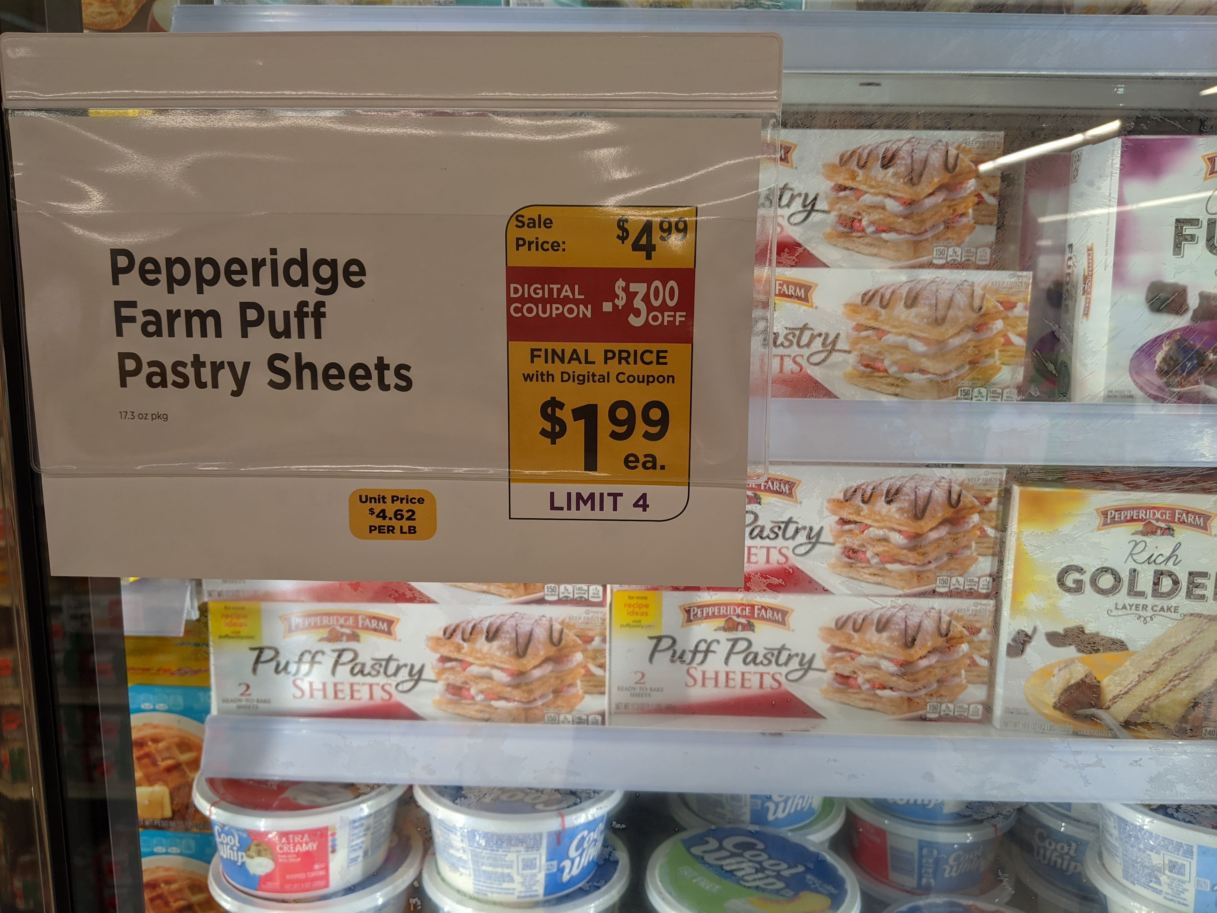 Pepperidge farm frozen Puff pastry sheets for $2 B&M digital coupon $1.99