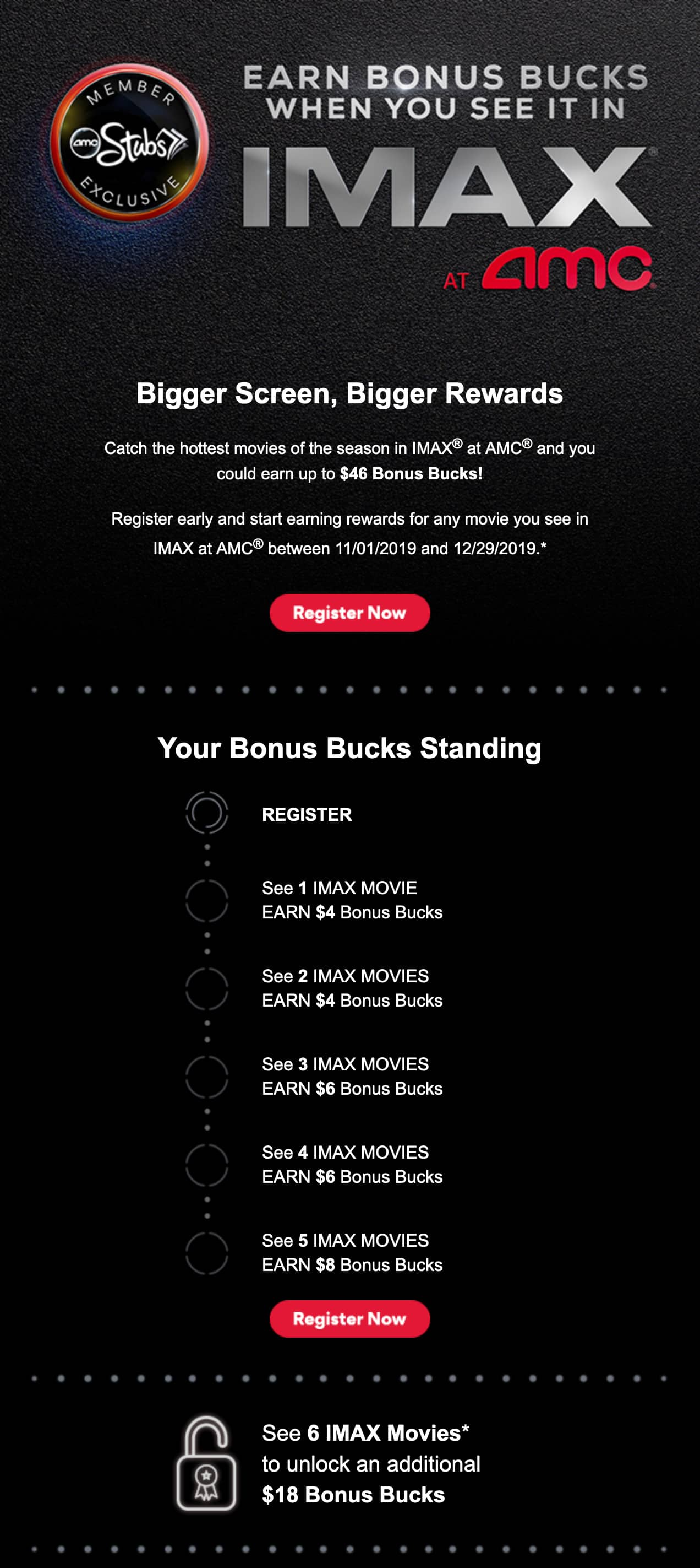 Earn up to $46 Bonus Bucks for seeing movies in IMAX @ AMC between 11/1/19 - 12/29/19